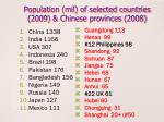 population mil of selected countries 2009 chinese provinces 2008