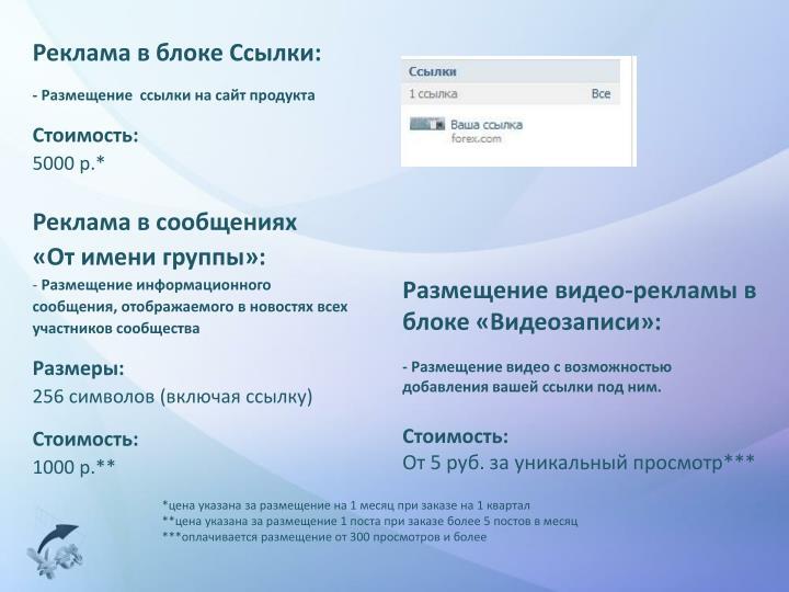 Реклама в блоке Ссылки: