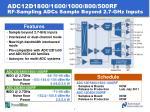 adc12d1800 1600 1000 800 500rf rf sampling adcs sample beyond 2 7 ghz inputs