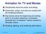 animation for tv and movies