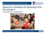 governor s institutes for educators pre k to grade 3 promoting p 3 alignment