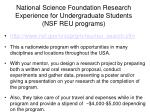 national science foundation research experience for undergraduate students nsf reu programs