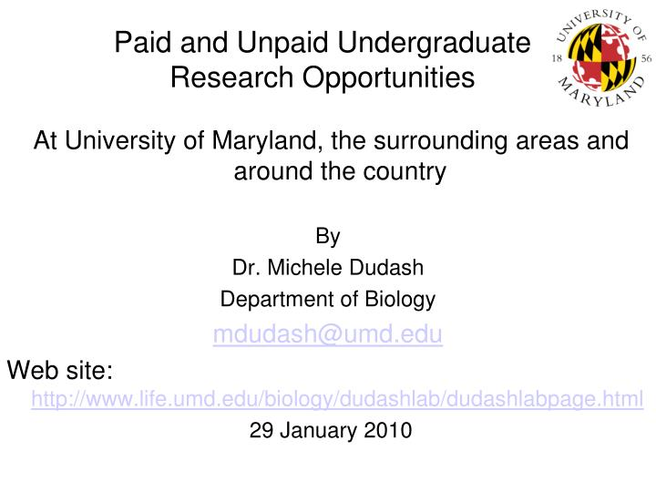 paid and unpaid undergraduate research opportunities n.