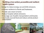 building a low carbon accessible and resilient health system