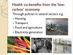 health co benefits from the low carbon economy