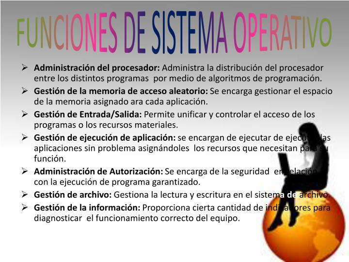 FUNCIONES DE SISTEMA OPERATIVO