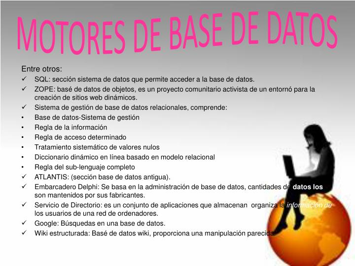 MOTORES DE BASE DE DATOS
