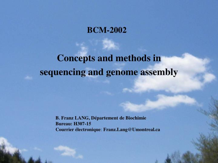 concepts and methods in sequencing and genome assembly n.