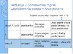 dedukcja podstawowa regu a wnioskowania zwana modus ponens