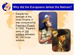why did the europeans defeat the natives1