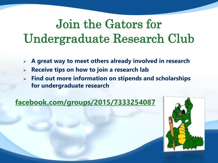 Join the Gators for Undergraduate Research Club