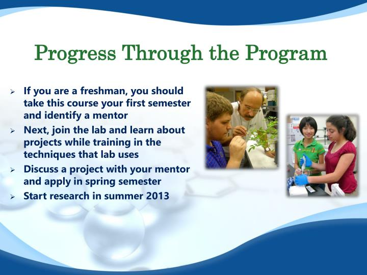 Progress Through the Program