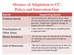 absence of adaptation to cc policy and innovation gap