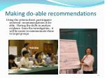 making do able recommendations
