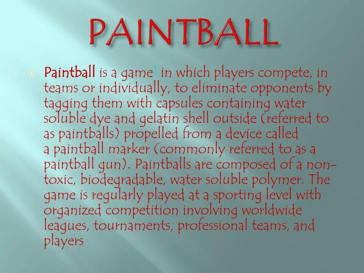 paintball n.