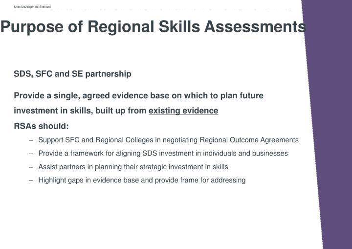 Purpose of Regional Skills Assessments