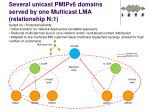 several unicast pmipv6 domains served by one multicast lma relationship n 1
