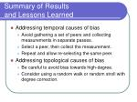 summary of results and lessons learned