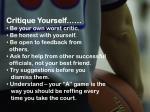 critique yourself