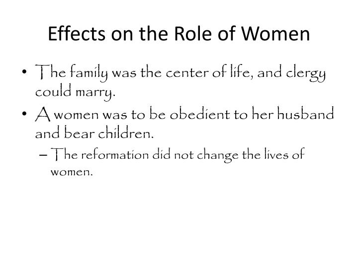 Effects on the Role of Women
