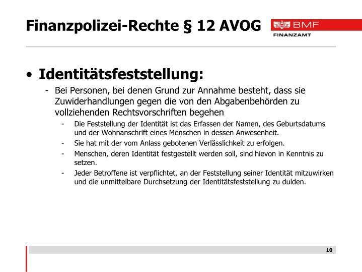 Finanzpolizei-Rechte § 12 AVOG