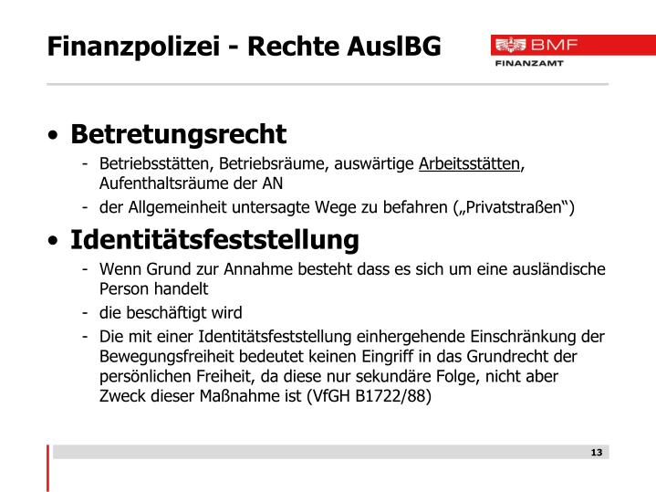 Finanzpolizei - Rechte AuslBG