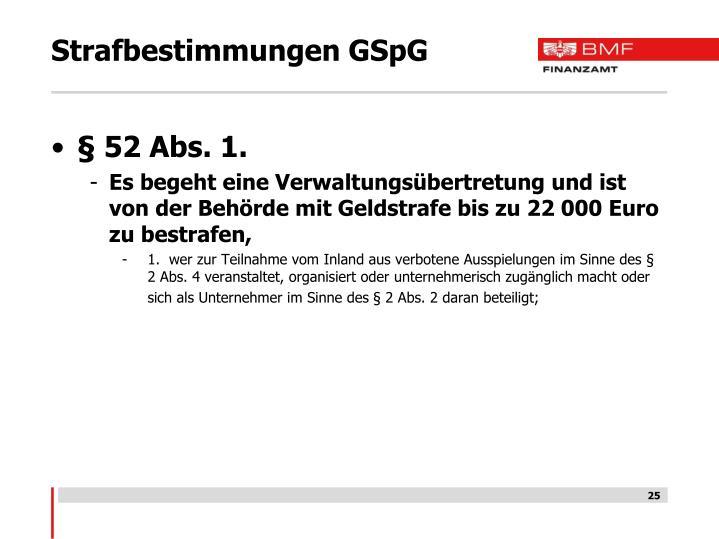 Strafbestimmungen GSpG