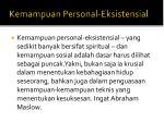 kemampuan personal eksistensial