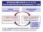 sporazumevanje v j1 in tj kot kroskurikularna kompetenca i cilj