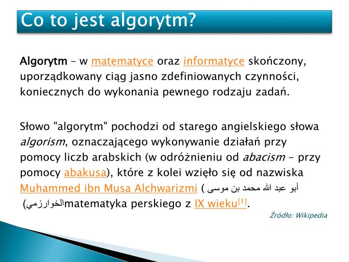 Co to jest algorytm?