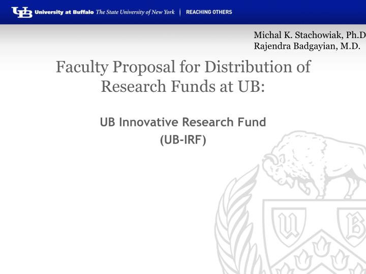 faculty proposal for distribution of research funds at ub n.