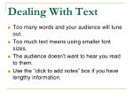 dealing with text
