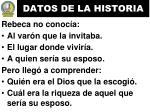 datos de la historia