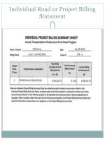 individual road or project billing statement