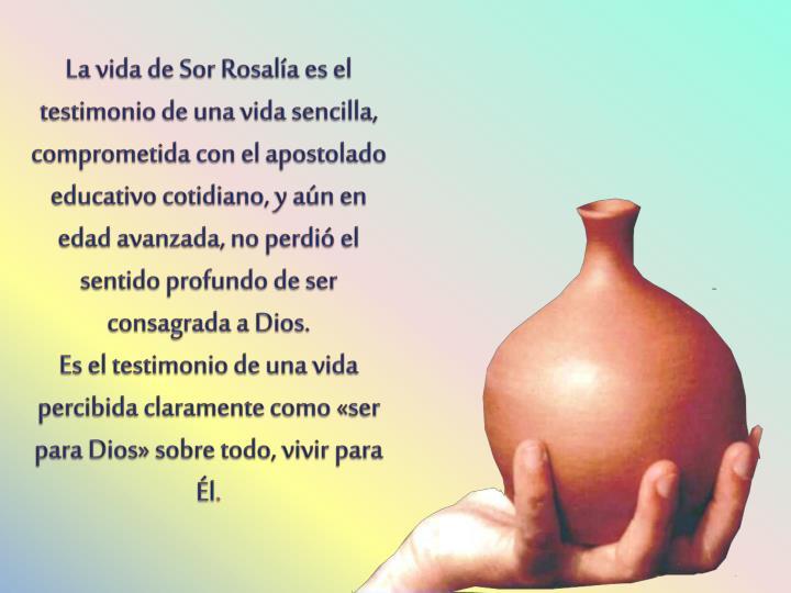 La vida de Sor Rosalía es el testimonio de una vida sencilla, comprometida con el apostolado educativo cotidiano, y aún en edad avanzada, no perdió el sentido profundo de ser consagrada a Dios.