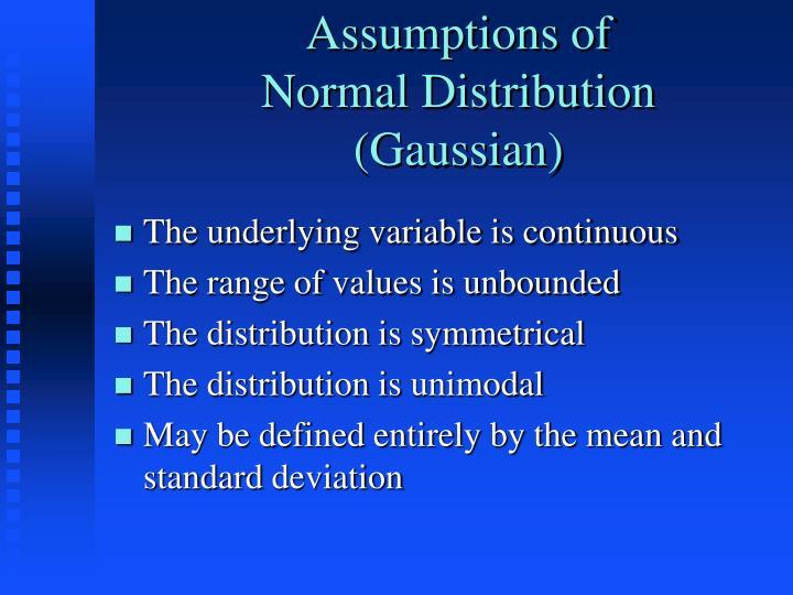 Assumptions of
