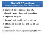 the hope questions for a formal spiritual assessment in a medical interview