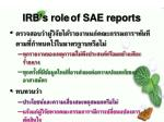 irb s role of sae reports