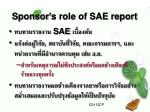 sponsor s role of sae report