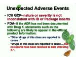 unexpected adverse events