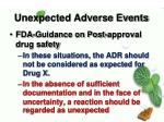 unexpected adverse events1