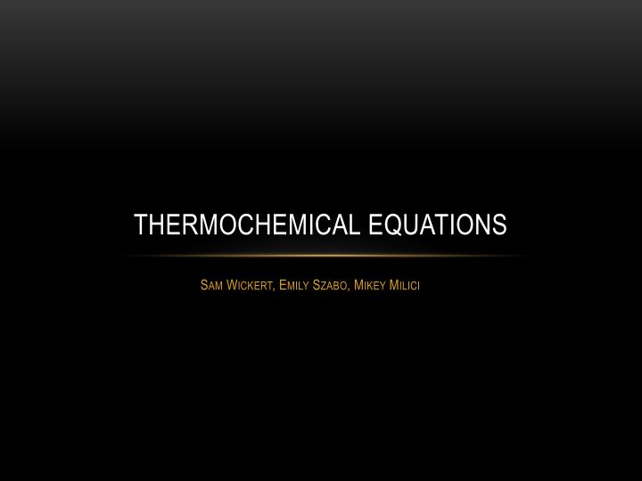 thermochemical equations n.