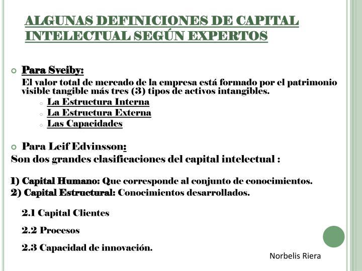 ALGUNAS DEFINICIONES DE CAPITAL INTELECTUAL SEGÚN EXPERTOS