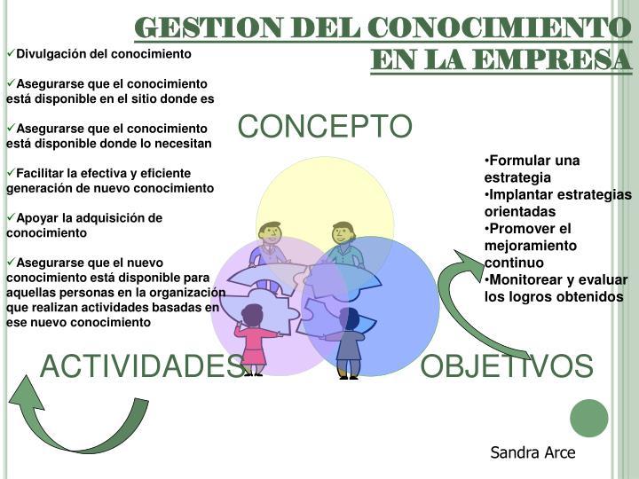 GESTION DEL CONOCIMIENTO EN LA EMPRESA