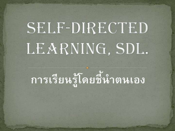 self directed learning sdl n.