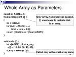 whole array as parameters