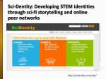 sci dentity developing stem identities through sci fi storytelling and online peer networks