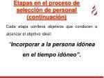 etapas en el proceso de selecci n de personal continuaci n