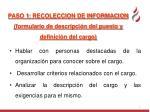 paso 1 recoleccion de informacion formulario de descripci n del puesto y definici n del cargo