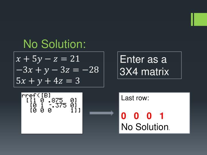 No Solution: